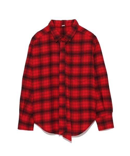 ビックシルエットボウタイネルシャツ
