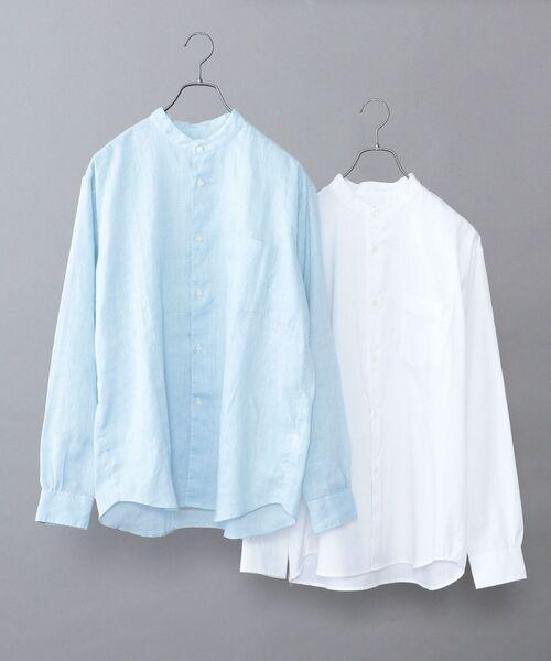 SHIPS any(シップス エニィ)の「【WEB限定】SHIPS any: 2枚パック バンドカラー シャツ 2021 SPRING◇(シャツ/ブラウス)」|ライトブルー