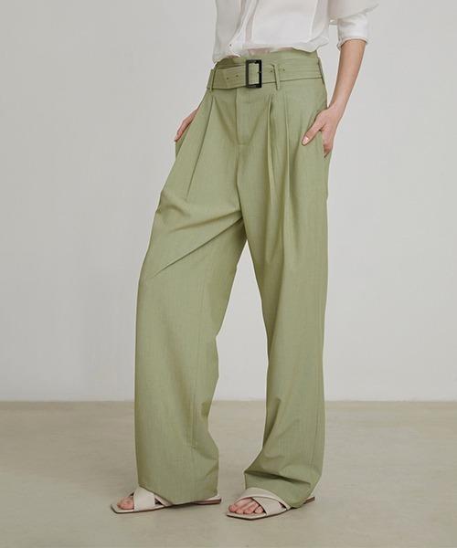 【UNSPOKEN】Wide pants with belt FAZ20210chw