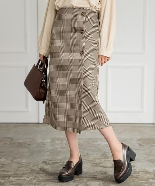 Heather(ヘザー)の「サスツキチェックIラインスカート 853562(スカート)」|ブラウン系その他