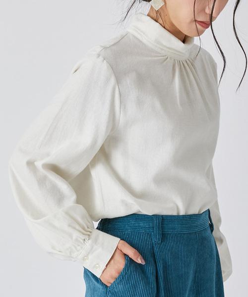 nougatine(ヌガティーヌ)の「綿ツイル起毛スタンドカラーシャツ(シャツ/ブラウス)」 オフホワイト