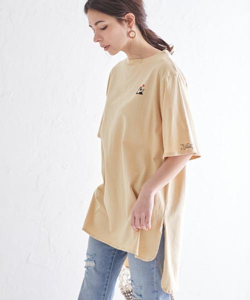 Mark Gonzales/マークゴンザレス Chaco closet別注 ラウンドヘムサイズスリットビッグTシャツ/バックボタンデザイン