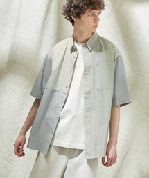 同色パッチワーク ストライプ オーバーサイズS/Sシャツ EMMA CLOTHES 2021SUMMERグレー