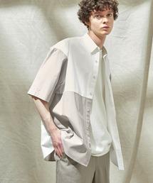 同色パッチワーク ストライプ オーバーサイズS/Sシャツ EMMA CLOTHES 2021SUMMERホワイト