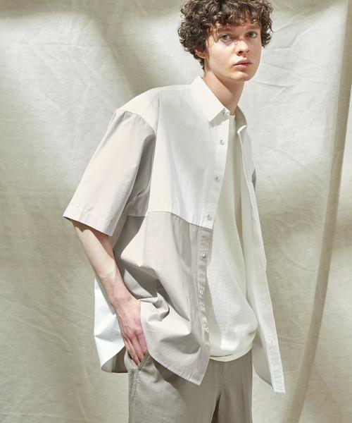 同色パッチワーク ストライプ オーバーサイズS/Sシャツ EMMA CLOTHES 2021SUMMER
