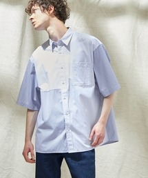 同色パッチワーク ストライプ オーバーサイズS/Sシャツ EMMA CLOTHES 2021SUMMERストライプ