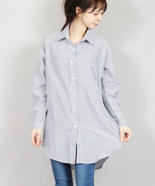 LC/ギンガムストライプBIGチュニックシャツ