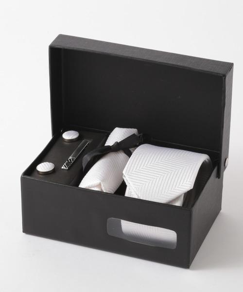 ヘリンボーン シルク編みネクタイ メンズ スーツ ギフト4点セット