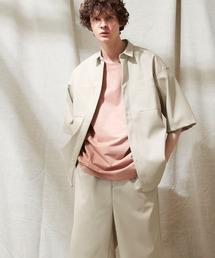 【セットアップ】シンセティックレザー オーバーサイズダブルポケットシャツ&ワイド2タックショーツ EMMA CLOTHES 2021SSグレイッシュベージュ