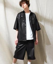 【セットアップ】シンセティックレザー オーバーサイズダブルポケットシャツ&ワイド2タックショーツ EMMA CLOTHES 2021SSブラック