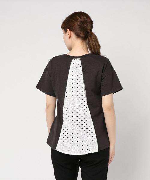 【LIEN】バックレースロゴ半袖Tシャツ