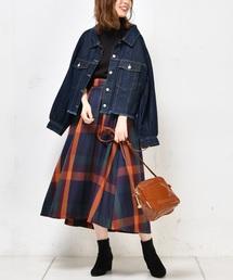 natural couture(ナチュラルクチュール)のBIGチェックフレアスカート(スカート)