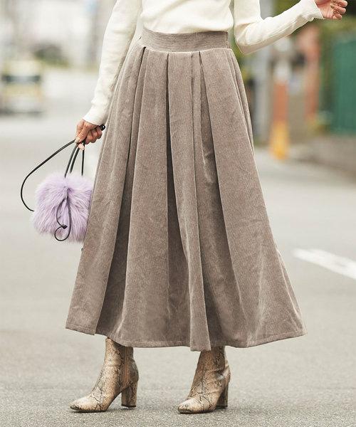 titivate(ティティベイト)の「コーデュロイタックデザインフレアスカート(スカート)」 グレイッシュベージュ