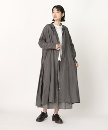 【ubasoku / ウバソク】脇タックプリーツ コートワンピース ub-0014 BNTチャコールグレー