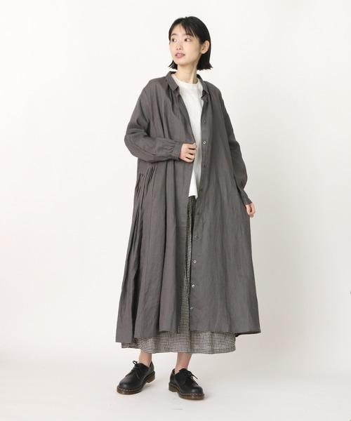 【ubasoku / ウバソク】脇タックプリーツ コートワンピース ub-0014 BNT