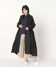 【ubasoku / ウバソク】脇タックプリーツ コートワンピース ub-0014 BNTブラック