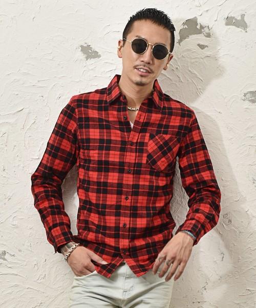 レギュラーカラービエラチェックシャツ メンズ ネルシャツ ワイシャツ トップス 長袖