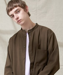 ブライトポプリンリラックスバンドカラーシャツ Poplin Band Collar Shirt Long sleeveダークブラウン