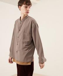 ブライトポプリンリラックスバンドカラーシャツ Poplin Band Collar Shirt Long sleeveベージュ