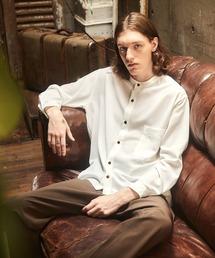 ブライトポプリンリラックスバンドカラーシャツ Poplin Band Collar Shirt Long sleeveオフホワイト