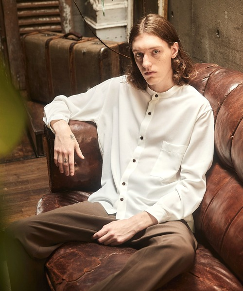 ブライトポプリンリラックスバンドカラーシャツ EMMA CLOTHES