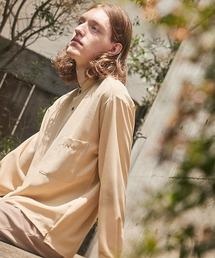 ブライトポプリンリラックスバンドカラーシャツ Poplin Band Collar Shirt Long sleeveライトベージュ