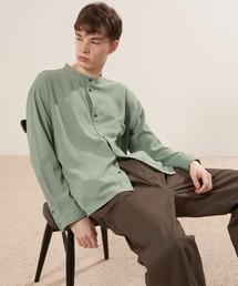 ブライトポプリンリラックスバンドカラーシャツ Poplin Band Collar Shirt Long sleeveライトグリーン