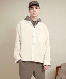 ブライトポプリンリラックスバンドカラーシャツ Poplin Band Collar Shirt Long sleeveキナリ