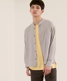 ブライトポプリンリラックスバンドカラーシャツ Poplin Band Collar Shirt Long sleeveライトグレー