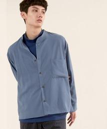 ブライトポプリンリラックスバンドカラーシャツ Poplin Band Collar Shirt Long sleeveライトブルー