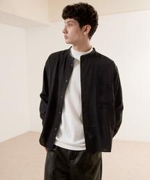 ブライトポプリンリラックスバンドカラーシャツ Poplin Band Collar Shirt Long sleeveブラック