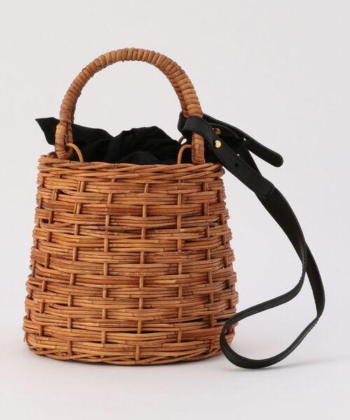 高級品市場 【MARCHER/マルシェ】ショルダー&ファー巾着付かごバッグ(かごバッグ) NOLLEY
