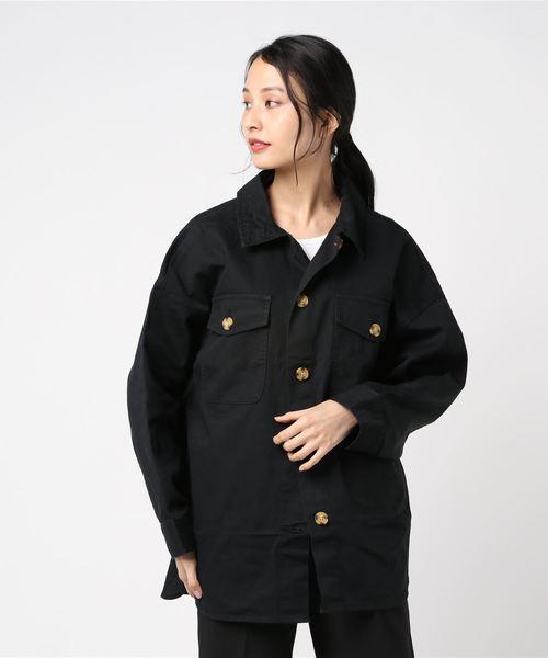 フラップポケットシャツジャケット CPOジャケット オーバーサイズ ビッグシルエット ドロップショルダー