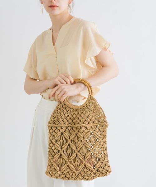 【KATHARINE ROSS】綿コード マクラメ編みバンブーハンドルメッシュバッグ WEB限定