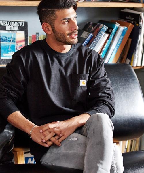 Carhartt/カーハート ポケット ロゴ オーバーサイズ クルーネック 長袖 Tシャツ/Workwear Pocket Long-Sleeve T-Shirts
