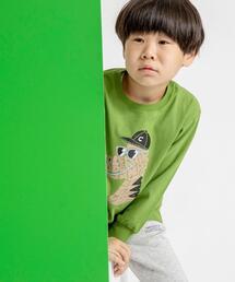 【coen キッズ】アニマルプリント長袖Tシャツ