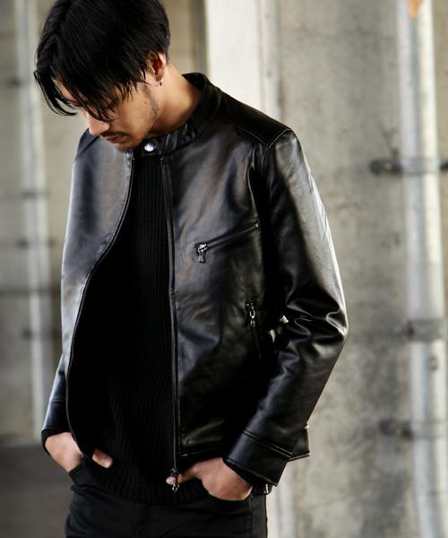 ZIP FIVE(ジップファイブ)の「PUレザーシングルライダース(ライダースジャケット)」|ブラック