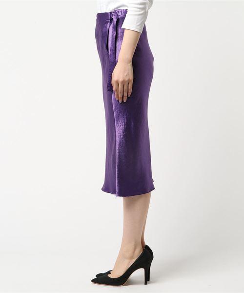 allureville(アルアバイル)の「アセテートサテンミモレスカート(スカート)」|詳細画像