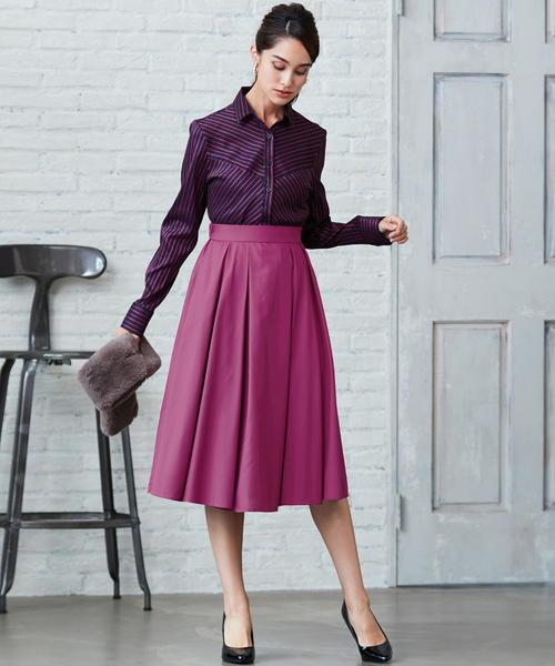NARACAMICIE(ナラカミーチェ)の「ボリュームフレアスカート(スカート)」|ピンク