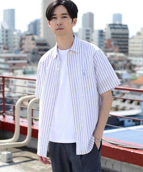 綿麻ストライプ半袖シャツ