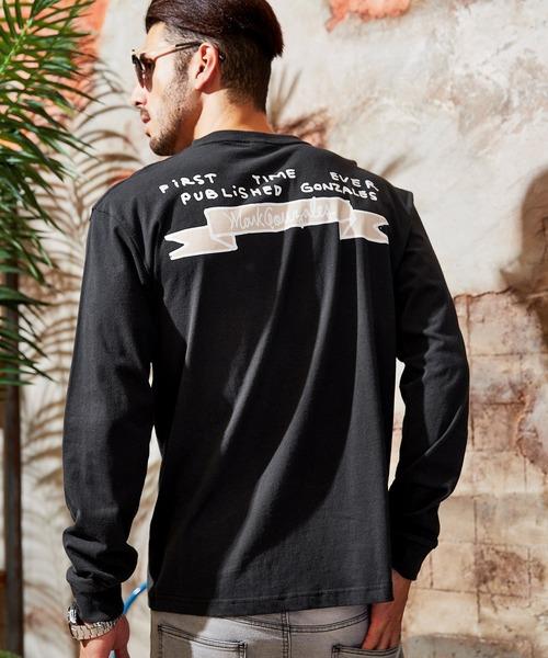 Mark Gonzales/マークゴンザレス BARK MANHATTAN別注 オーバーサイズ クルーネック 長袖 プリント Tシャツ