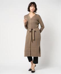 DOUBLE STANDARD CLOTHING(ダブルスタンダードクロージング)のDSC. SEMI-WORDTED ロングニットカーディガン(カーディガン)