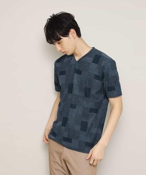 MK MICHEL KLEIN HOMME (エムケーミッシェルクランオム)の「カットソー/TCブロックパイル(Tシャツ/カットソー)」|ネイビー