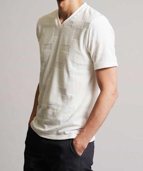 MK MICHEL KLEIN HOMME (エムケーミッシェルクランオム)の「カットソー/TCブロックパイル(Tシャツ/カットソー)」|ホワイト