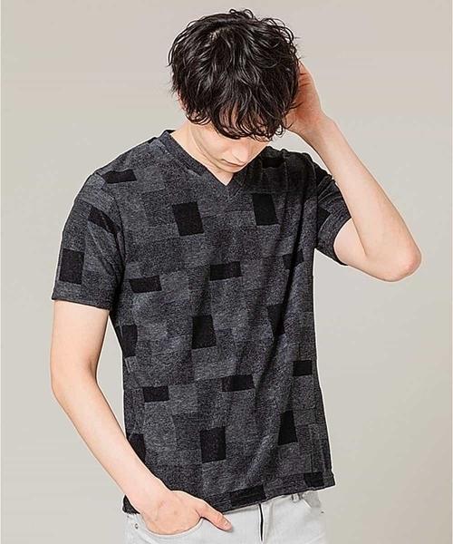 MK MICHEL KLEIN HOMME (エムケーミッシェルクランオム)の「カットソー/TCブロックパイル(Tシャツ/カットソー)」|チャコールグレー