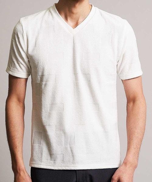 MK MICHEL KLEIN HOMME (エムケーミッシェルクランオム)の「カットソー/TCブロックパイル(Tシャツ/カットソー)」|詳細画像