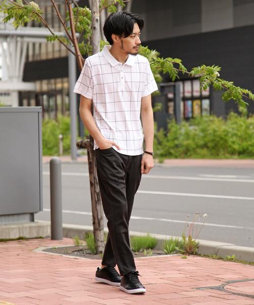 クイックドライ 総柄鹿の子ポロシャツ