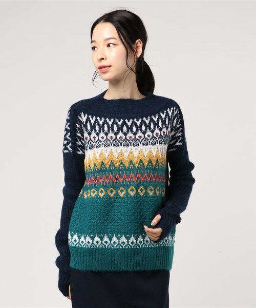 ラメ混ノルディック柄ニット・セーター