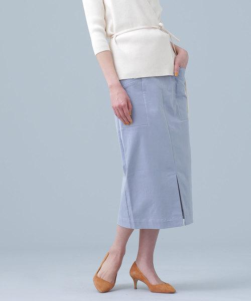 nano・universe(ナノユニバース)の「CRストレッチIラインスカート(スカート)」|ブルー