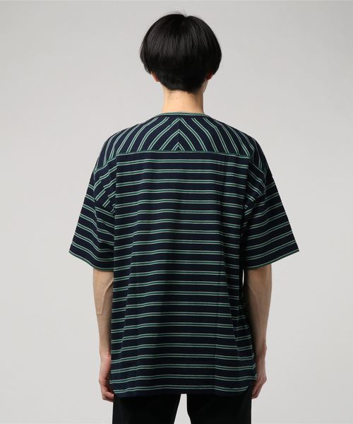 [SLICK/スリック] ボーダードロップショルダーTシャツ